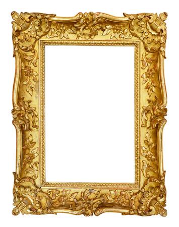 marcos decorativos: Marco de la vendimia del oro aislado en el fondo blanco Foto de archivo
