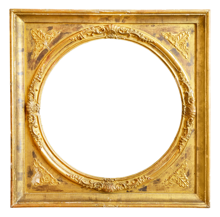 carvings: Gold vintage frame isolated on white background