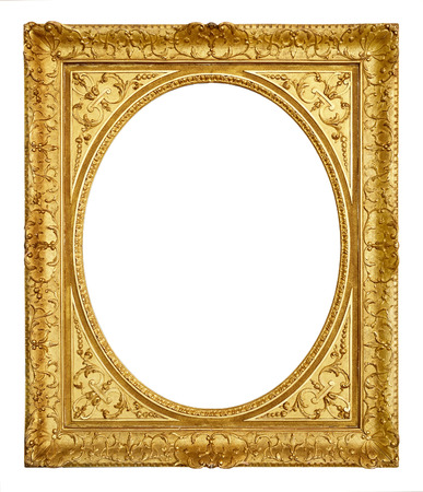 gold ornament: Gold vintage frame isolated on white background