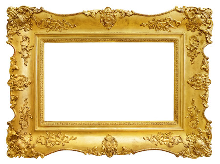 picture frame: Gold vintage frame isolated on white background