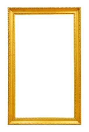 marcos cuadros: Marco de la vendimia del oro aislado en el fondo blanco Foto de archivo