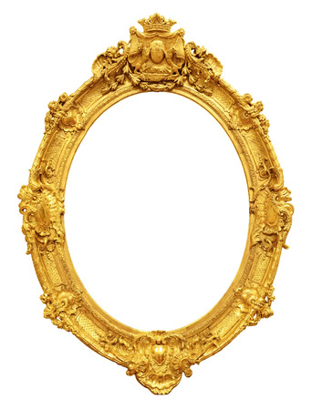 on mirrors: Gold vintage frame isolated on white background