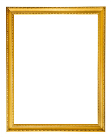 vintage photo: Gold vintage frame isolated on white background