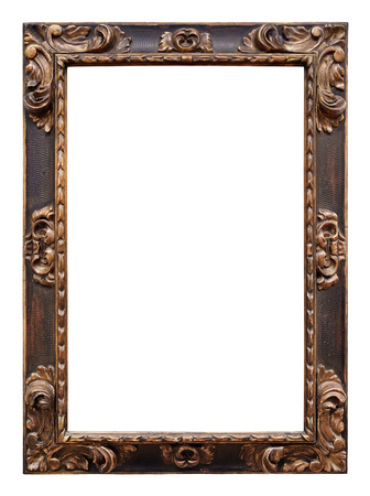 Vintage wooden frame isolated on white background Foto de archivo