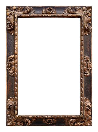 bordes decorativos: Vintage marco de madera aislado en fondo blanco  Foto de archivo