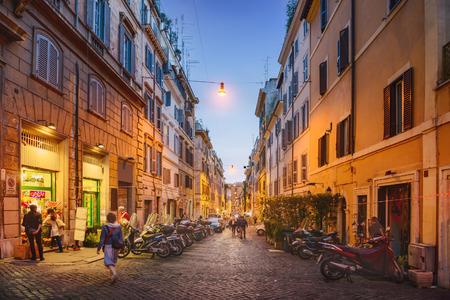 italy street: Evening cityscape. Streets of Rome city, Italy Stock Photo