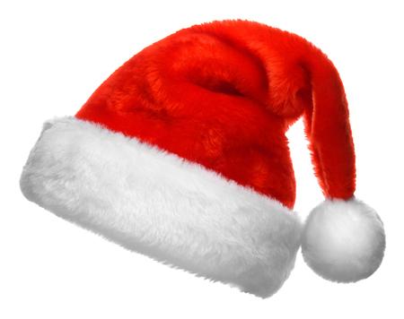 白い背景に分離された単一のサンタ クロースの赤い帽子 写真素材