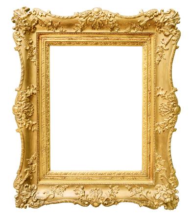 白い背景に分離されたゴールドのビンテージ フレーム 写真素材