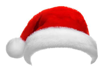 caps: Individual sombrero de Santa Claus rojo sobre fondo blanco