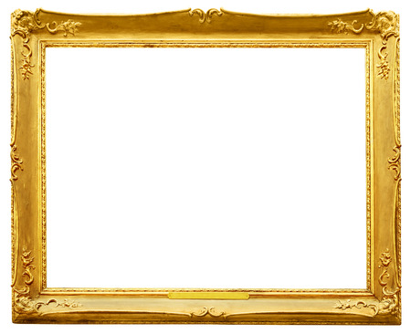 Gold vintage frame isolated on white background Stok Fotoğraf - 48623180