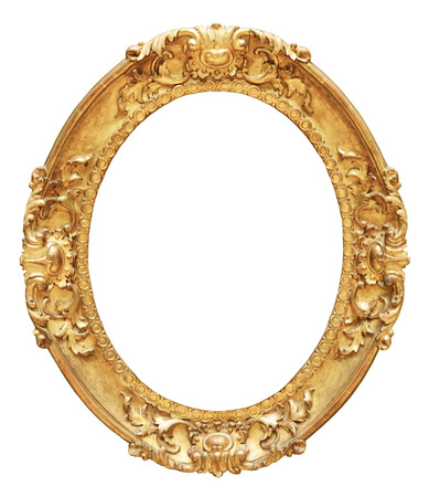 baroque picture frame: Gold vintage oval frame isolated on white background