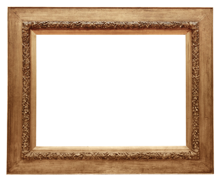 marco madera: Wooden vintage frame isolated on white background