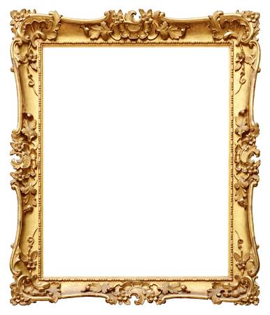Cornice oro d'epoca isolato su sfondo bianco Archivio Fotografico - 48624552