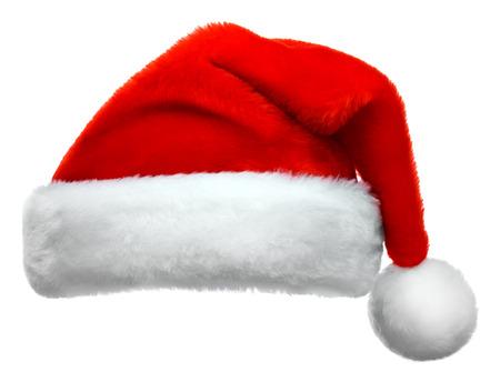 Santa Claus rode hoed geïsoleerd op witte achtergrond Stockfoto - 48624557
