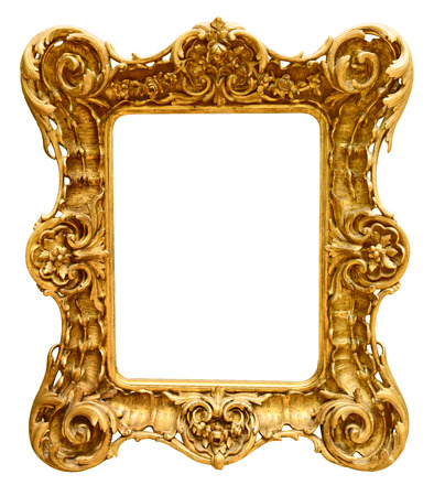 Gold vintage frame isolated on white background Reklamní fotografie - 48624563