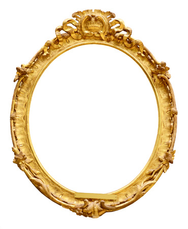 gold picture frame: Gold vintage frame isolated on white background