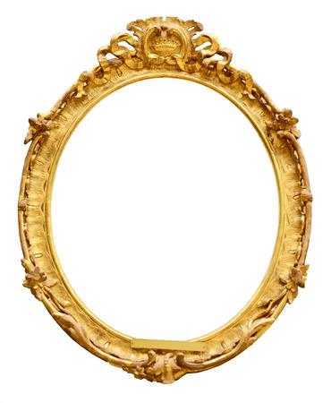 óvalo: Marco de la vendimia del oro aislado en el fondo blanco Foto de archivo