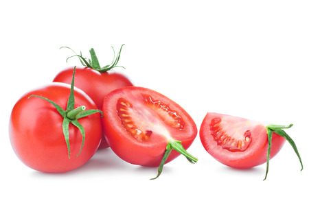 fresh leaf: fresh red tomatoes with green leaf isolated on white background