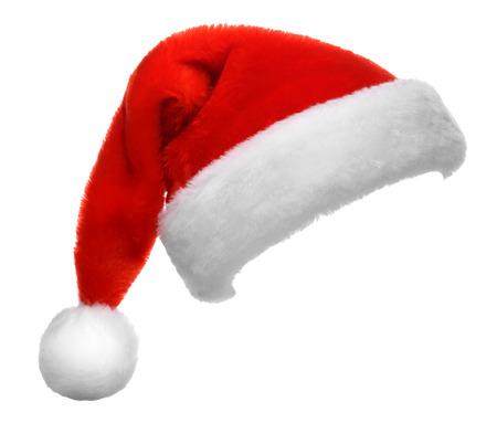 navide�os: Individual sombrero de Santa Claus rojo sobre fondo blanco