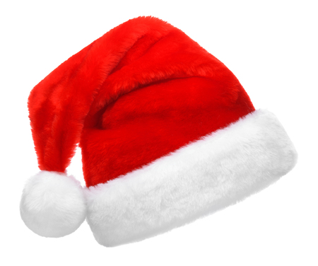 red hat: Single Santa Claus red hat isolated on white background