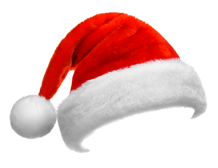 Santa Claus red hat isolated on white background Stock Photo