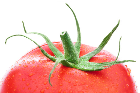 stipe: Fresh red tomatoes with green leaf isolated on white background Stock Photo