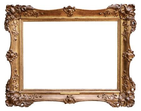 marcos decorativos: Marco de la cosecha de madera aislada sobre fondo blanco