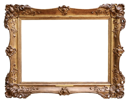 picture frame on wall: Wooden vintage frame isolated on white background