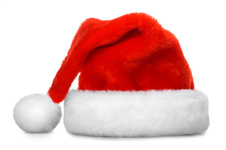 wearing santa hat: Single Santa Claus red hat isolated on white background