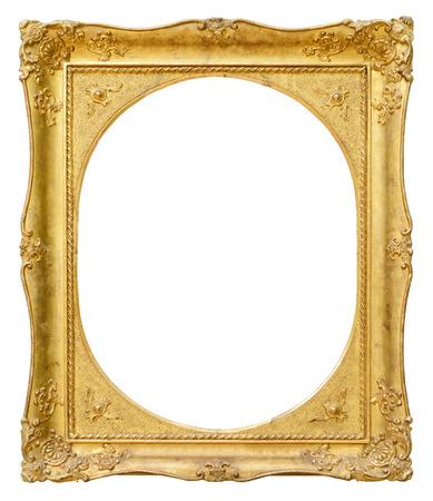 ovalo: Marco oval de la vendimia del oro aislado en el fondo blanco