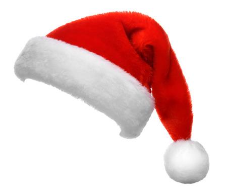 흰 배경에 고립 된 산타 클로스 빨간 모자