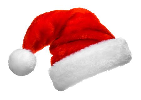 ? ?   ? ?    ? ?   ? ?  ? ?  ? hat: Sombrero rojo de Santa Claus aislado sobre fondo blanco