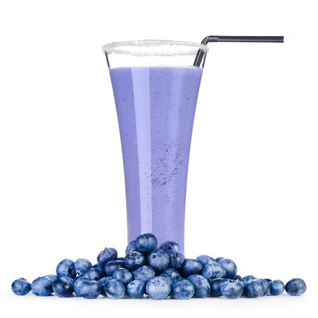 food healthy: Delicious blueberry smoothie with fresh berrys Isolated on white background Stock Photo