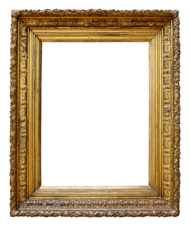 Gold vintage frame isolated on white background