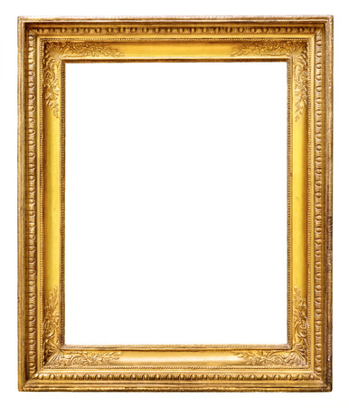 photo studio background: Gold vintage frame isolated on white background