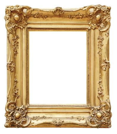 antique background: Gold vintage frame isolated on white background