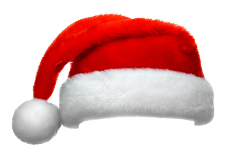 Santa Claus rode hoed geïsoleerd op witte achtergrond Stockfoto - 48630501