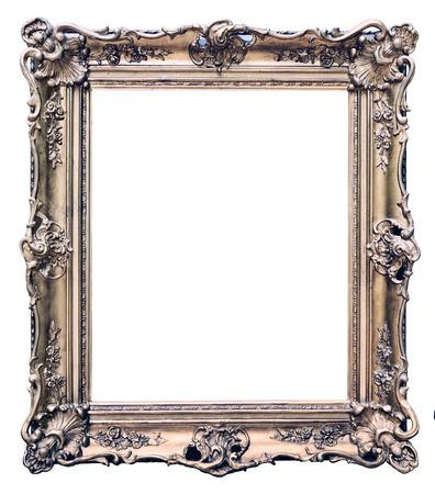 tallado en madera: Vintage marco de madera aislado en fondo blanco  Foto de archivo