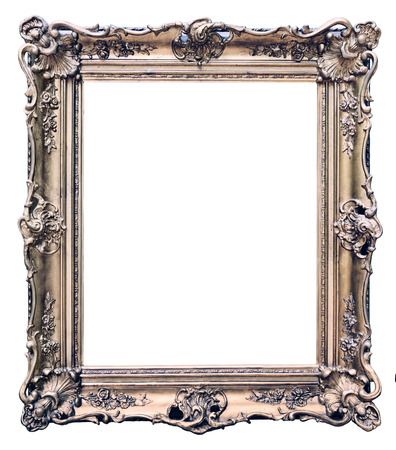 Vintage wooden frame isolated on white background Stock Photo