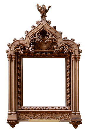 carvings: Vintage wooden frame isolated on white background Stock Photo