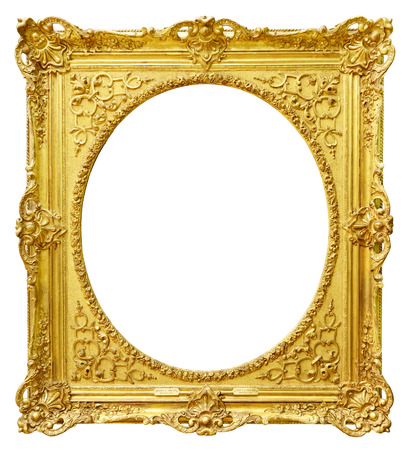 mirror frame: Gold vintage frame isolated on white background