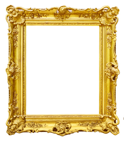 old picture: Gold vintage frame isolated on white background