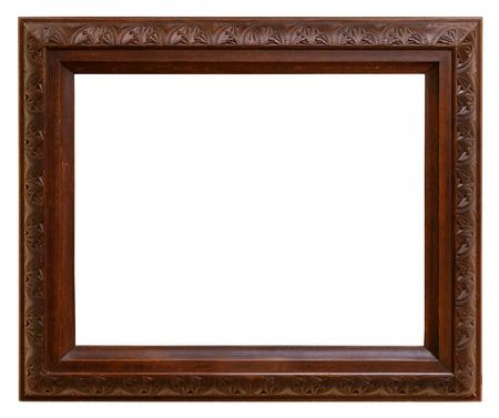 Vintage houten frame geïsoleerd op witte achtergrond Stockfoto