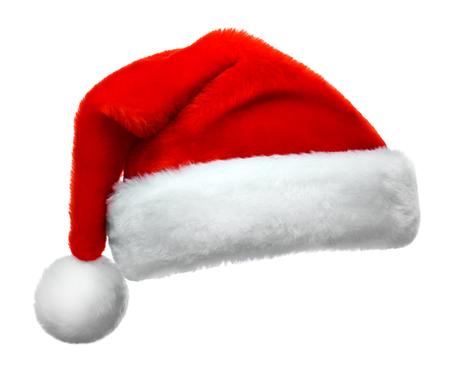 santa clos: Sombrero rojo de Santa Claus aislado sobre fondo blanco