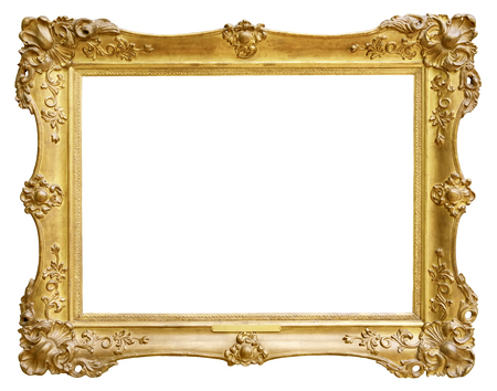 marco madera: Marco de la vendimia del oro aislado en el fondo blanco Foto de archivo