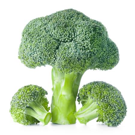 cruciferous: Fresh raw broccoli isolated on white background