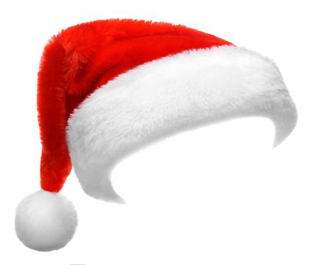 natale: Singolo cappello rosso di Babbo Natale isolato su sfondo bianco Archivio Fotografico