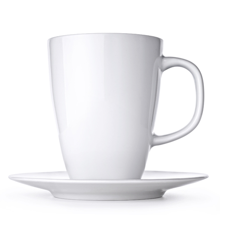 saucer: White cup with seucer isolated on white background