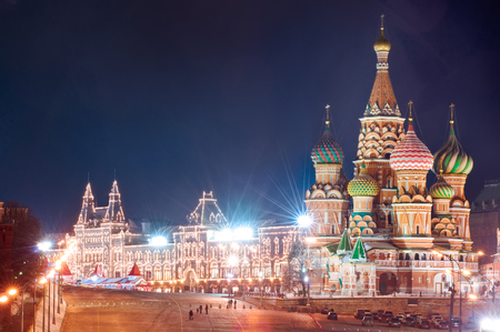 Moscow Kremlin and Red Square. Night cityscape Banco de Imagens