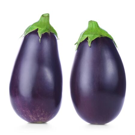 violaceous: Two ripe fresh aubergines isolated on white background